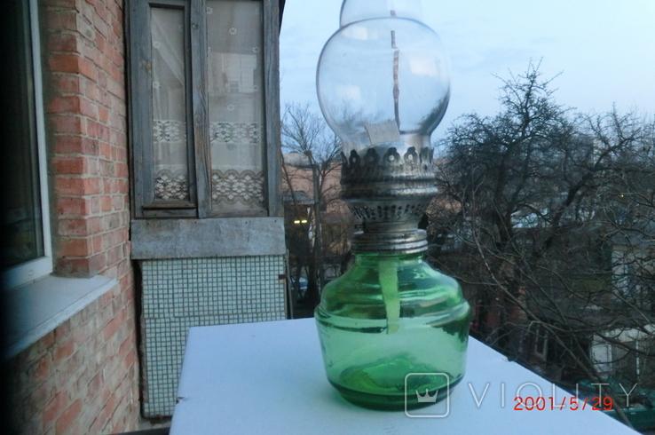 Старая стеклянная керосиновая лампа, фото №5