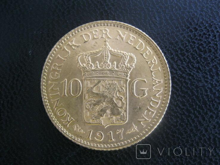 10 гульденов. 1917. Вильгельмина. Нидерланды, фото №2