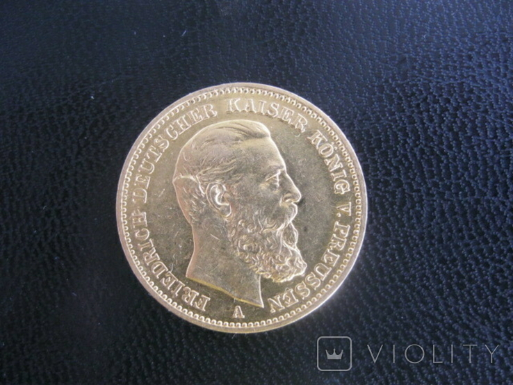 20 Марок 1888, Германия, Пруссия, Фридрих, фото №2