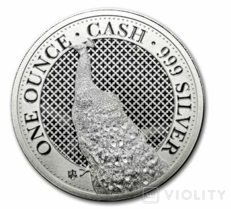 Павлин 1 фунт 2020 Серебро 1oz 999, фото №2