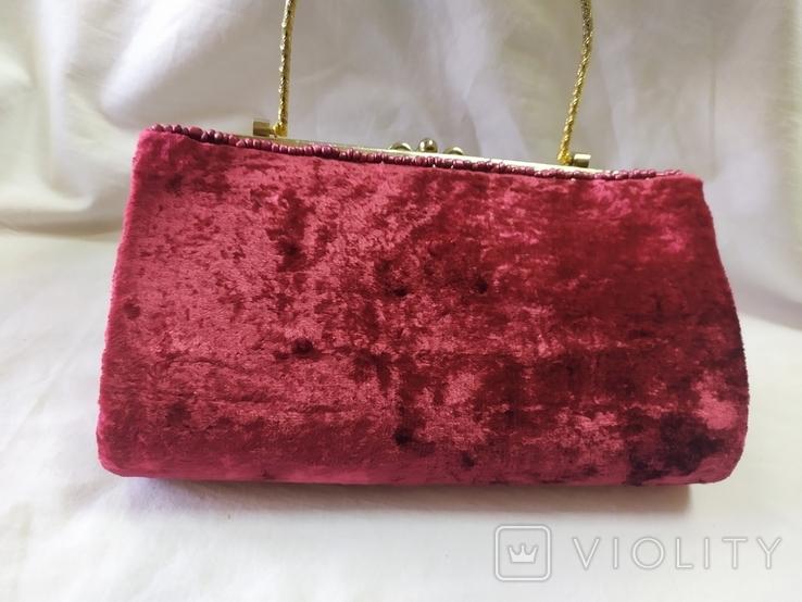 Винтажная бархатная сумочка с вышивкой и металлической ручкой, фото №9