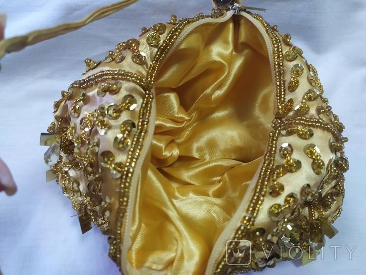 Шелковая сумочка или кошелечек, расшитая бисером, пайетками и бусинами. Без ручки 17х15см, фото №6