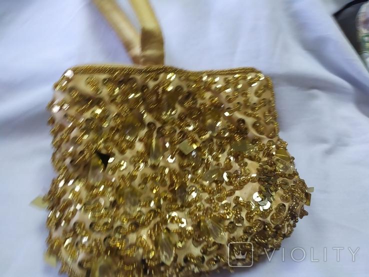Шелковая сумочка или кошелечек, расшитая бисером, пайетками и бусинами. Без ручки 17х15см, фото №7