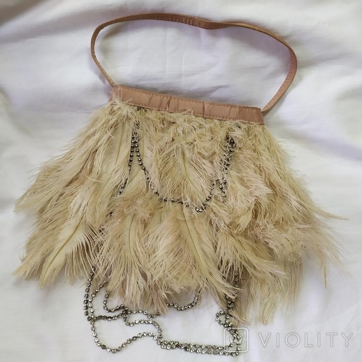 Фирменная сумочка Karen Millen с перьями страуса. Англия. Без ручки 22х18см, фото №2