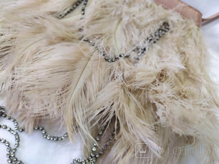Фирменная сумочка Karen Millen с перьями страуса. Англия. Без ручки 22х18см, фото №4