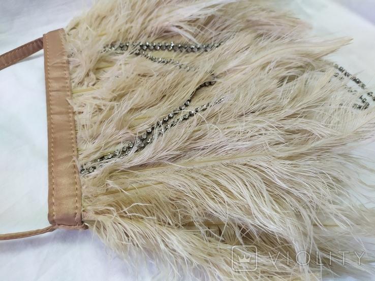 Фирменная сумочка Karen Millen с перьями страуса. Англия. Без ручки 22х18см, фото №8