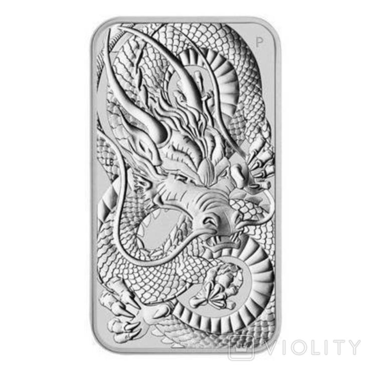 Срібний злиток Дракон 2021 Австралія 1 унція, фото №2
