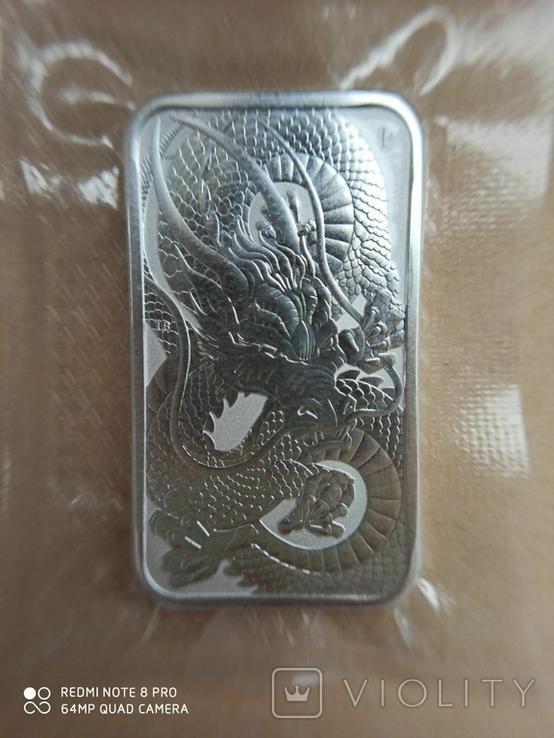 Срібний злиток Дракон 2021 Австралія 1 унція, фото №5