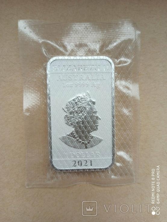 Срібний злиток Дракон 2021 Австралія 1 унція, фото №7
