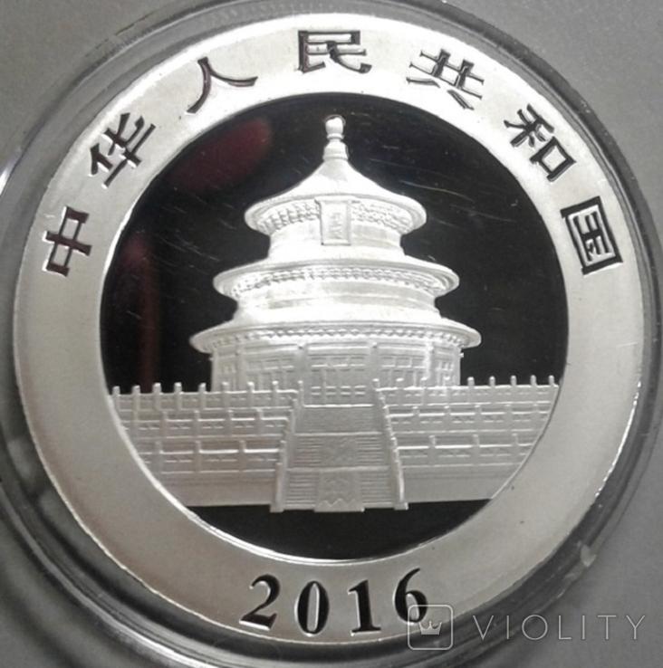 Китай 10 юаней 2016 г. Панда (серебро 999 пробы , 30 гр.), фото №5