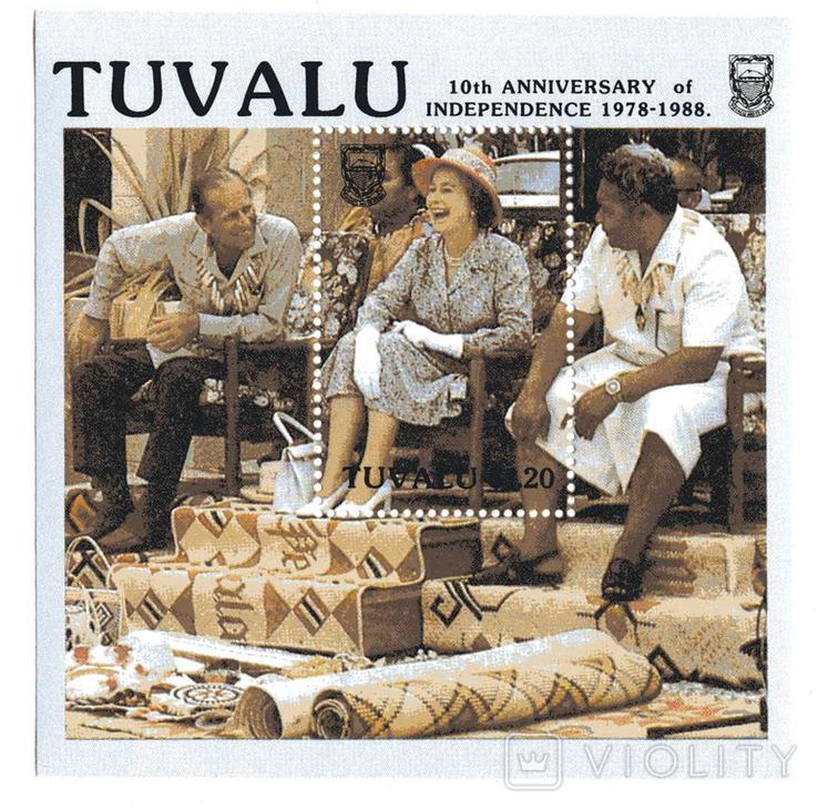 Тувалу 1988 - 10 лет независимости. Блок (2)