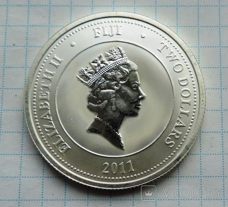 2 доллара 2011 года Фиджи черепаха (8), фото №5