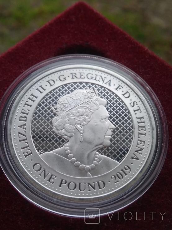 Тигр Индии фунт 1 oz унция серебро 999 проба Остров Св Елены Индийский тигр Тираж 3000 шт, фото №3