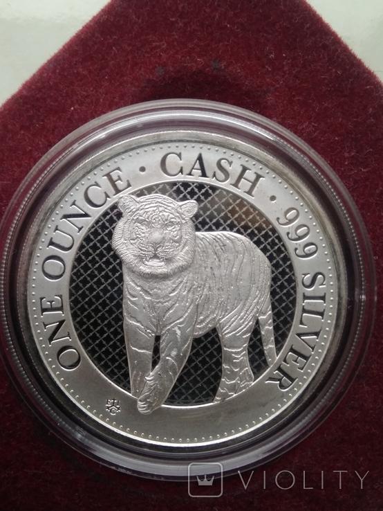 Тигр Индии фунт 1 oz унция серебро 999 проба Остров Св Елены Индийский тигр Тираж 3000 шт, фото №4