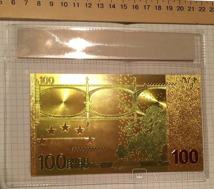 Позолоченная сувенирная банкнота 100 Euro в защитном файле, конверте / сувенір, фото №4