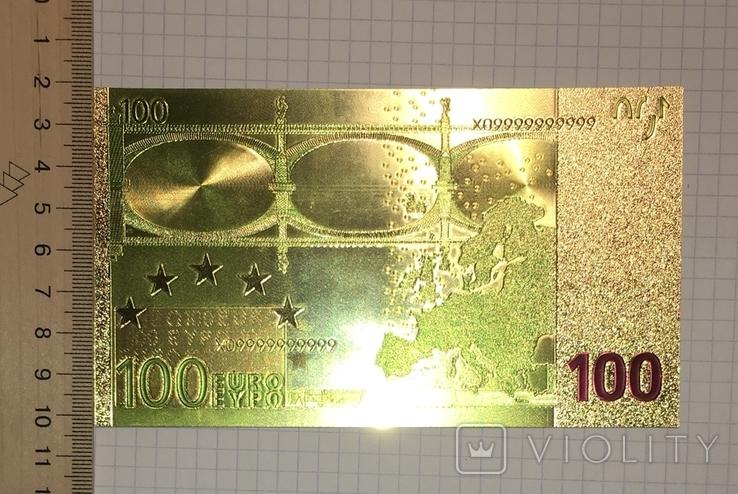 Позолоченная сувенирная банкнота 100 Euro в защитном файле, конверте / сувенір, фото №6