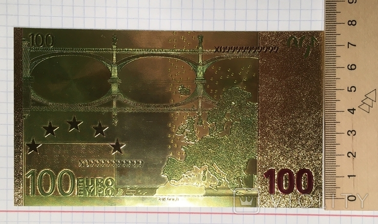 Позолоченная сувенирная банкнота 100 Euro в защитном файле, конверте / сувенір, фото №7