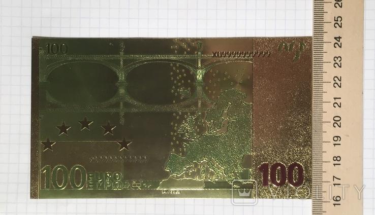 Позолоченная сувенирная банкнота 100 Euro в защитном файле, конверте / сувенір, фото №8