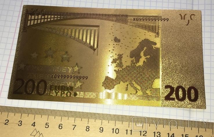 Позолоченная сувенирная банкнота 200 Euro в защитном файле, конверте / сувенір, фото №7