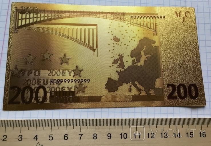 Позолоченная сувенирная банкнота 200 Euro в защитном файле, конверте / сувенір, фото №8