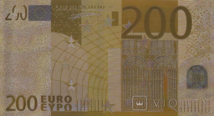 Позолоченная сувенирная банкнота 200 Euro в защитном файле, конверте / сувенір, фото №10