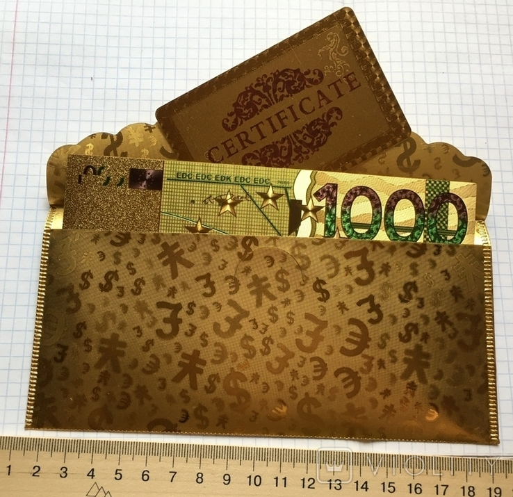 Позолоченная сувенирная банкнота 1000 Euro в подарочном конверте + сертификат / сувенір, фото №6