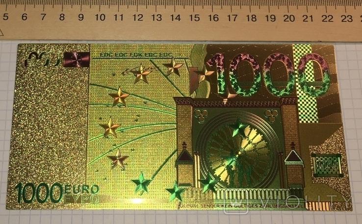Позолоченная сувенирная банкнота 1000 Euro в подарочном конверте + сертификат / сувенір, фото №8