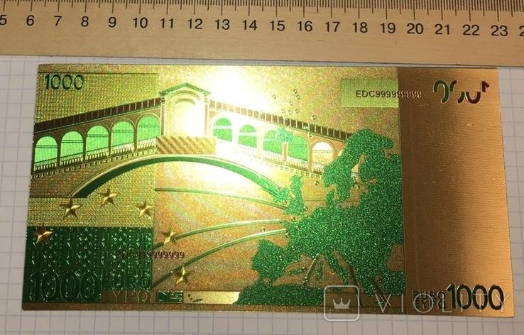 Позолоченная сувенирная банкнота 1000 Euro в подарочном конверте + сертификат / сувенір, фото №9