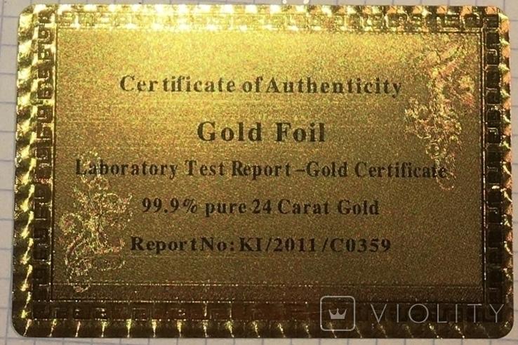 Позолоченная сувенирная банкнота 1000 Euro в подарочном конверте + сертификат / сувенір, фото №11