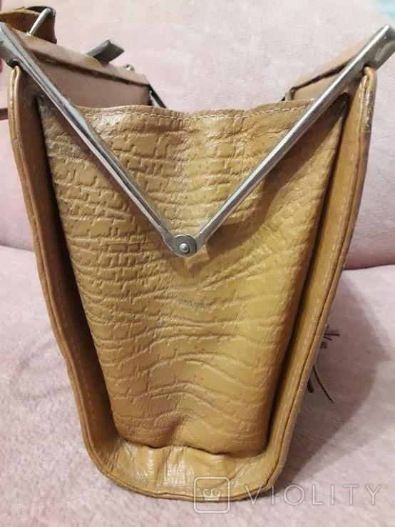 Дамская сумочка ридикуль тиснённая кожа 40 - 50-е, фото №4