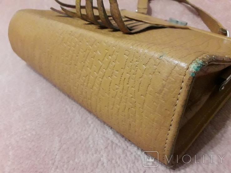 Дамская сумочка ридикуль тиснённая кожа 40 - 50-е, фото №11
