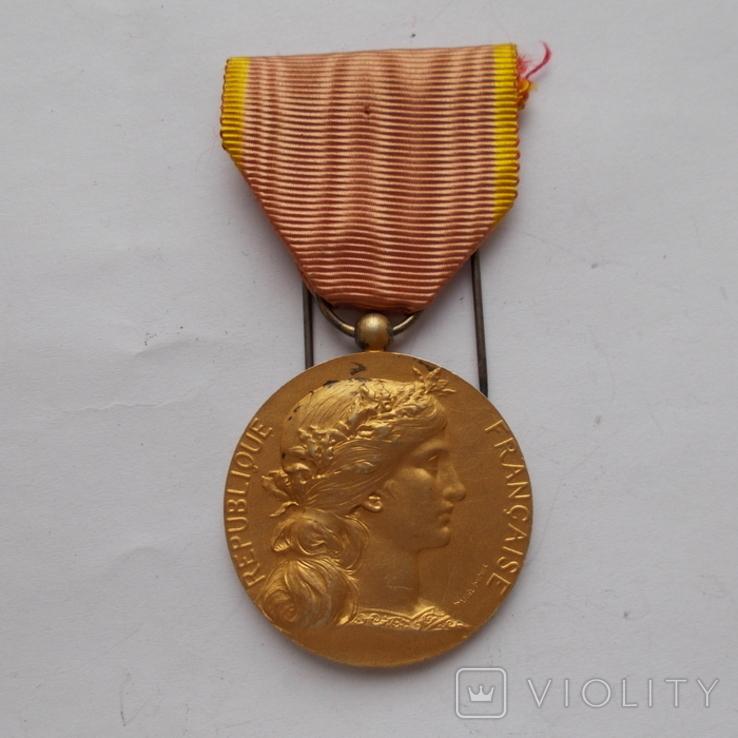 Франция. Медаль индустриального общества. Серебро+позолота., фото №2