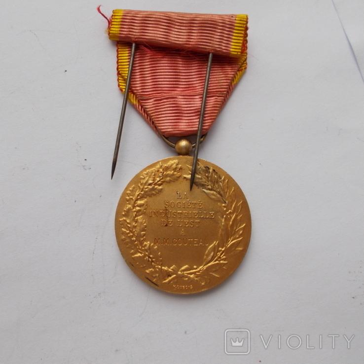 Франция. Медаль индустриального общества. Серебро+позолота., фото №3