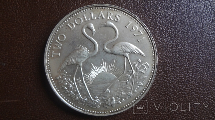 2 доллара 1971 Багамы серебро (Ю.4.4)~, фото №2