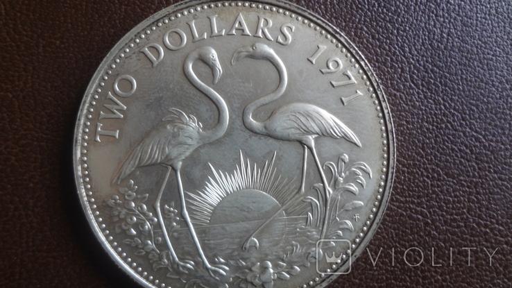 2 доллара 1971 Багамы серебро (Ю.4.4)~, фото №3