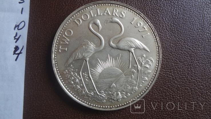 2 доллара 1971 Багамы серебро (Ю.4.4)~, фото №8