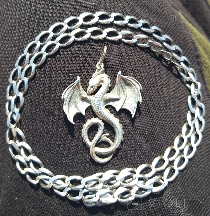 Серебряный кулон дракон на цепочке, фото №2