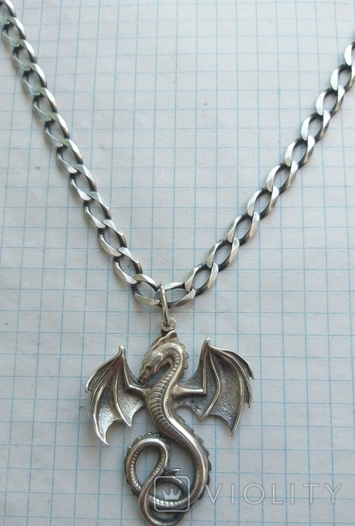 Серебряный кулон дракон на цепочке, фото №9