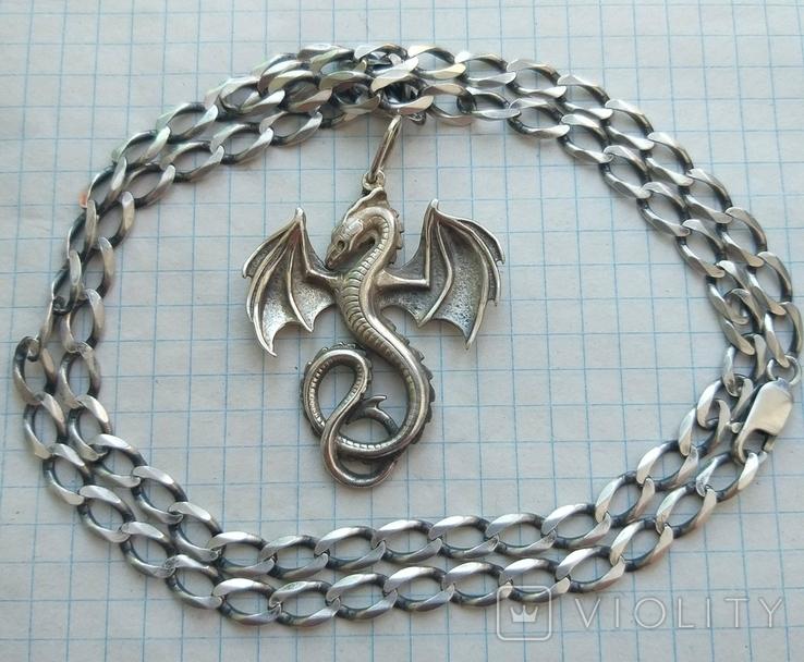 Серебряный кулон дракон на цепочке, фото №10