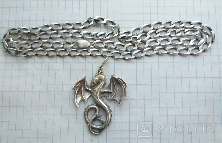 Серебряный кулон дракон на цепочке, фото №12