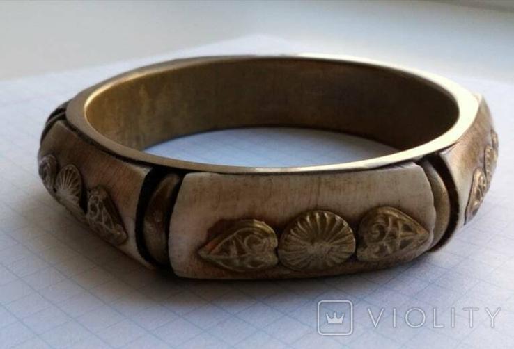 Браслет бронза со вставками кости, фото №2