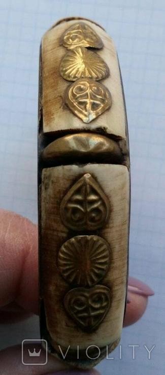 Браслет бронза со вставками кости, фото №8