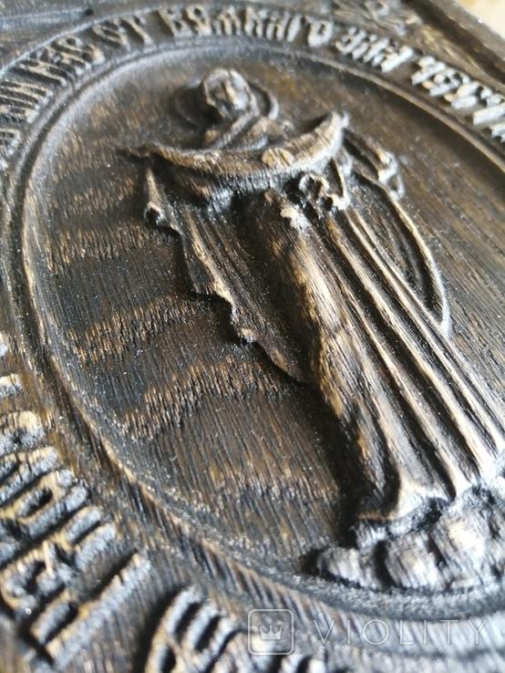 Икона Покрова из дерева дуб 18,5*15, фото №3