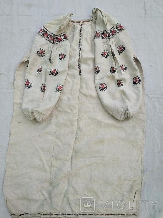 Сорочка старинная вышиванка конопляная полотняная Миргородская Полтавская. Рубаха женская, фото №4