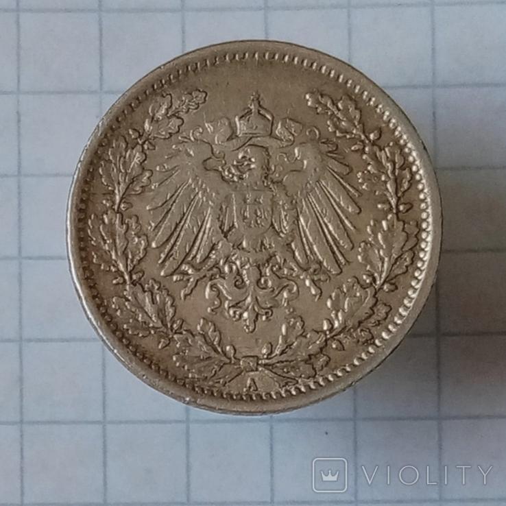 "1/2 маркы 1917г ""А"" Германия серебро, фото №3"