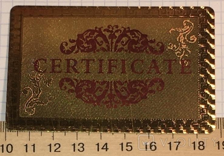 Сертификат подлинности (99.9%) 24 К золотая фольга / сувенір, сертифікат, фото №3