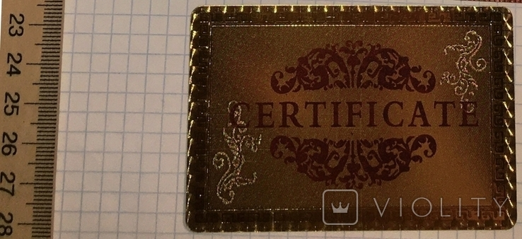 Сертификат подлинности (99.9%) 24 К золотая фольга / сувенір, сертифікат, фото №7