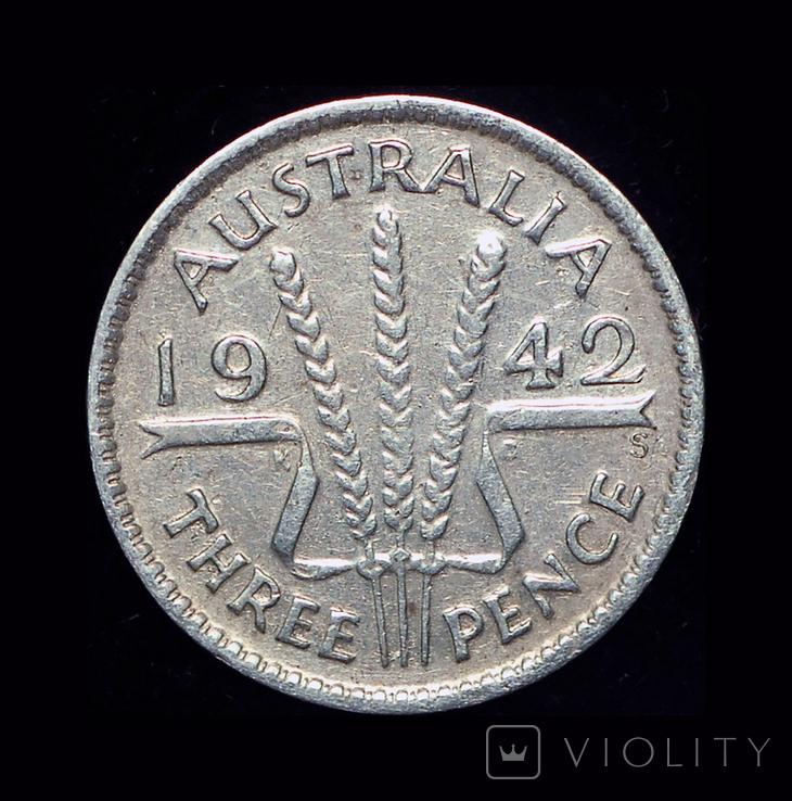 Австралия 3 пенса 1942 серебро, фото №2