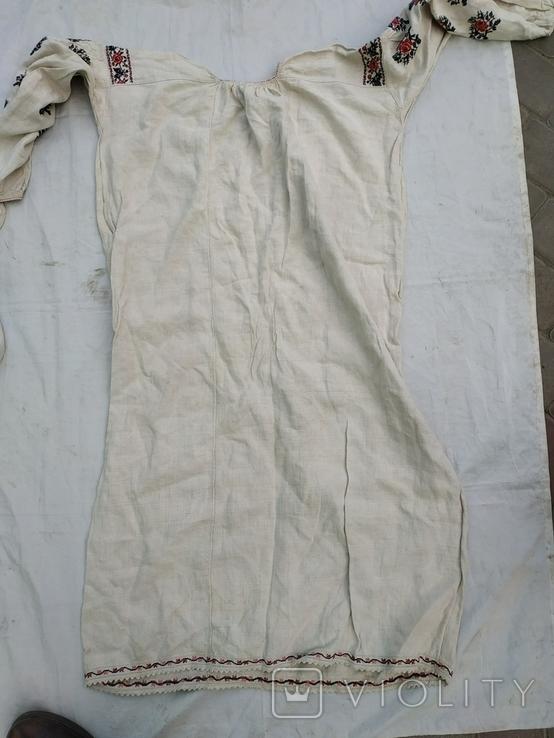 Сорочка весільна святкова конопляна полотняна Миргородська , женская старинная рубаха, фото №6