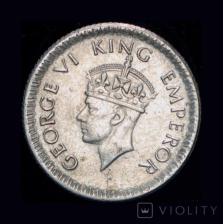 Британская Индия 1/4 рупии 1945 серебро, фото №2